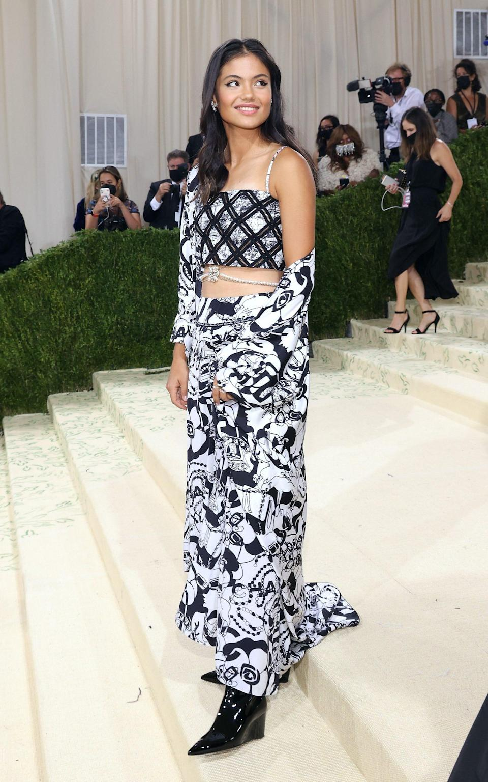 Emma Raducanu wearing Tiffany jewellery and Chanel at the Met Gala in New York - WireImage