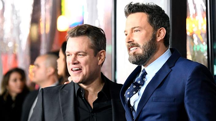 """Actors Matt Damon and Ben Affleck are working together on a movie for the first time since 'Good Will Hunting' in 1997. <span class=""""copyright"""">Photo by Frazer Harrison/Getty Images</span>"""