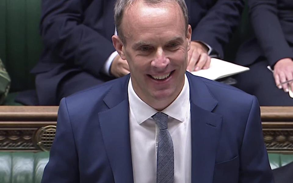 Dominic Raab looked like he was having fun at the dispatch box today