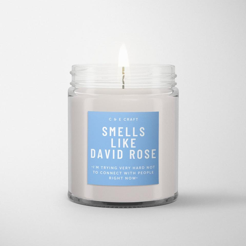 """<p>They can light this <product href=""""https://www.etsy.com/listing/863558516/ce-smells-like-david-rose-soy-wax-candle?ga_order=most_relevant&amp;ga_search_type=all&amp;ga_view_type=gallery&amp;ga_search_query=Schitt%26%2339%3Bs+Creek&amp;ref=sr_gallery-4-41&amp;organic_search_click=1"""" target=""""_blank"""" class=""""ga-track"""" data-ga-category=""""internal click"""" data-ga-label=""""https://www.etsy.com/listing/863558516/ce-smells-like-david-rose-soy-wax-candle?ga_order=most_relevant&amp;ga_search_type=all&amp;ga_view_type=gallery&amp;ga_search_query=Schitt%26%2339%3Bs+Creek&amp;ref=sr_gallery-4-41&amp;organic_search_click=1"""" data-ga-action=""""body text link"""">Smells Like David Rose Soy Wax Candle</product> ($15) while they're watching the show to get a full sensory experience.</p>"""