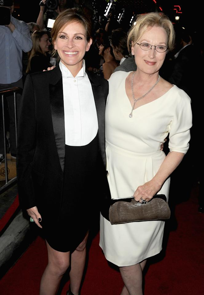 """LOS ANGELES, CA - DECEMBER 16: Actresses Julia Roberts and Meryl Streep attend the premiere of The Weinstein Company's """"August: Osage County"""" at Regal Cinemas L.A. Live on December 16, 2013 in Los Angeles, California. (Photo by Kevin Winter/Getty Images)"""