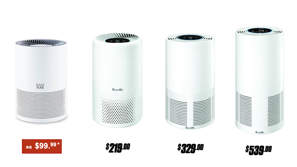 Air purifiers, left to right: Aldi's Easy Home Air Purifier; Breville's Easy Air Purifier; Breville's Smart Air Purifier; and Breville's Smart Air Plus Purifier. (Source: Aldi, The Good Guys)