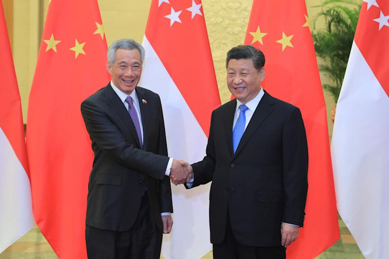 Prime Minister Lee Hsien Loong and Chinese President Xi Jinping at the 2nd Belt and Road Forum for International Cooperation in Beijing, China. PHOTO: Ministry of Communications and Information