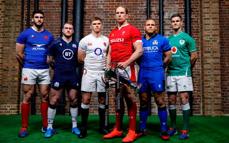 The captains of the Six Nations at the launch of the tournament - AFP