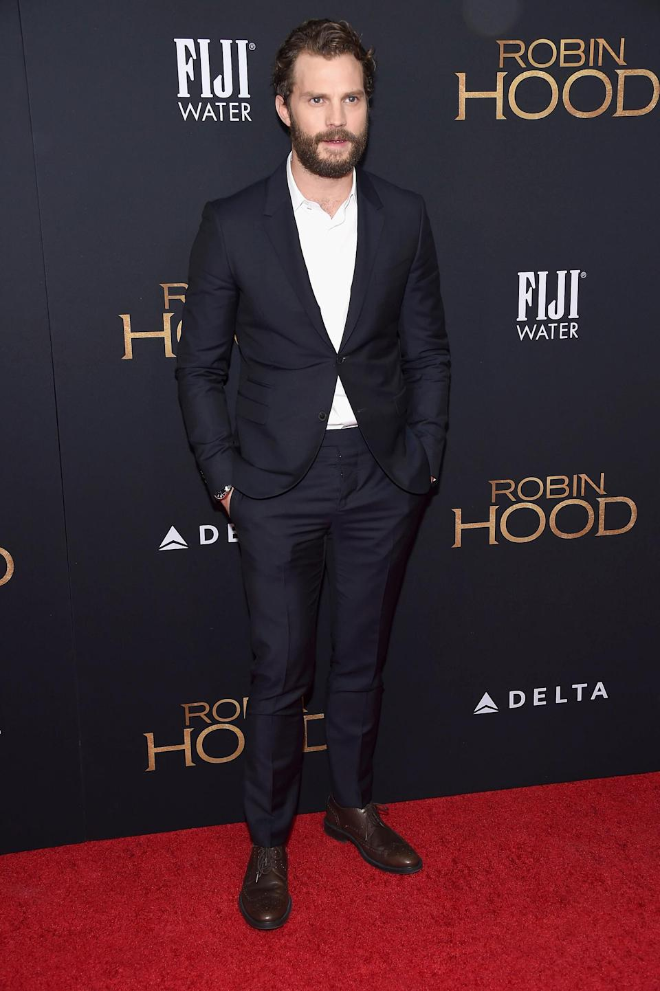 <p>The actor attended the 'Robin Hood' New York screening at AMC Lincoln Square Theater in New York City. <em>[Photo: Getty]</em> </p>