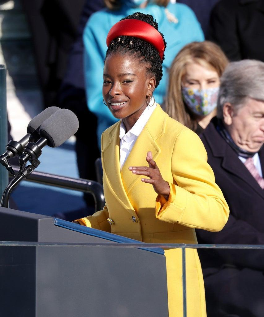 WASHINGTON, DC – JANUARY 20: Youth Poet Laureate Amanda Gorman speaks at the inauguration of U.S. President Joe Biden on the West Front of the U.S. Capitol on January 20, 2021 in Washington, DC. During today's inauguration ceremony Joe Biden becomes the 46th president of the United States. (Photo by Alex Wong/Getty Images)