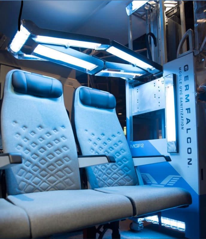 Device called the GermFalcon, which looks like an airline food cart with wings, uses ultraviolet light to detect germs and sanitize planes