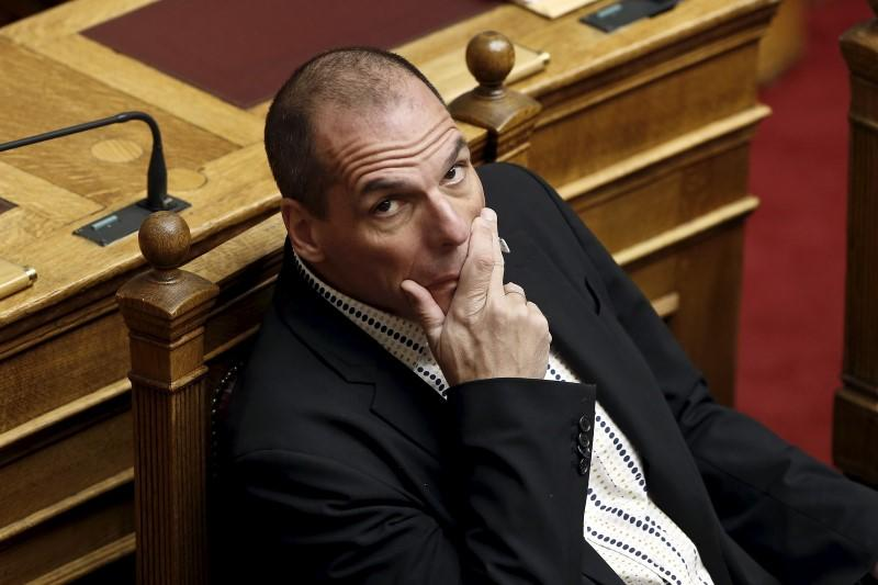 Greek Finance Minister Varoufakis looks on during a parliamentary session in Athens