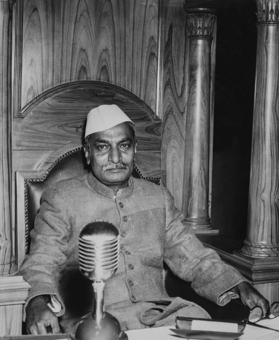 Portrait of Indian President Rajendra Prasad following his appointment, at the Constitutional Assembly in New Delhi, January 31st 1950. (Photo by Fox Photos/Hulton Archive/Getty Images)
