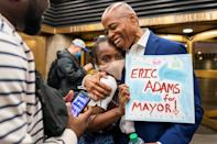 Eric Adams, Democratic candidate for New York City Mayor, speaks to supporters before participating in the Democratic primary debate in New York