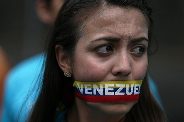 <p>A protester at an opposition demonstration in Caracas, Venezuela, June 7, 2016. (AP/Fernando Llano) </p>