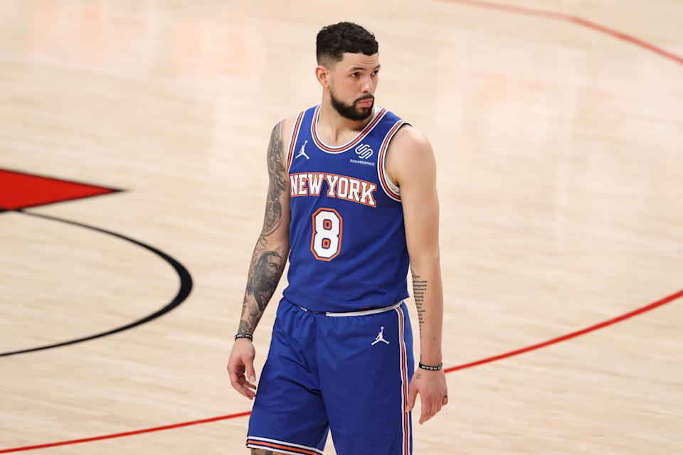 PORTLAND, OREGON - JANUARY 24: Austin Rivers #8 of the New York Knicks reacts in the fourth quarter against the Portland Trail Blazers at Moda Center on January 24, 2021 in Portland, Oregon. NOTE TO USER: User expressly acknowledges and agrees that, by downloading and or using this photograph, User is consenting to the terms and conditions of the Getty Images License Agreement. (Photo by Abbie Parr/Getty Images)