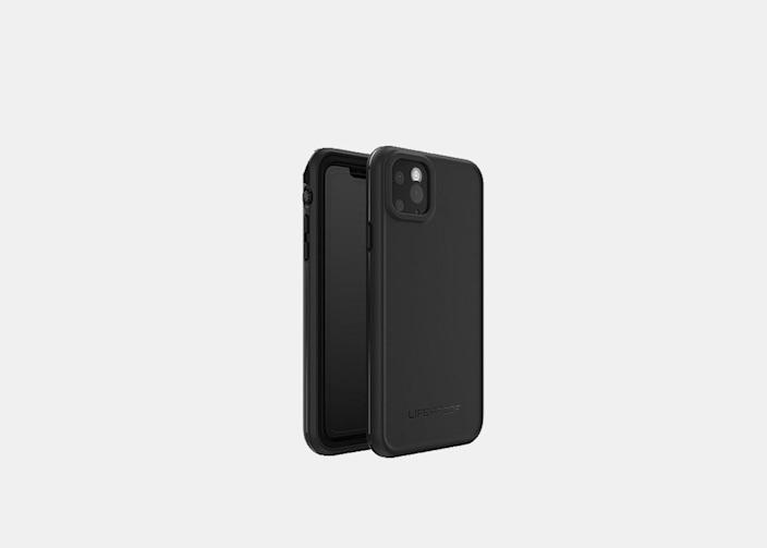 """The Frē <a href=""""https://www.cntraveler.com/story/best-waterproof-phone-cases?mbid=synd_yahoo_rss"""" rel=""""nofollow noopener"""" target=""""_blank"""" data-ylk=""""slk:waterproof case"""" class=""""link rapid-noclick-resp"""">waterproof case</a> by LifeProof will keep your phone safe in nearly any circumstance: It is waterproof for an hour in up to 6.6 feet of water, and is protective against dirt and snow. If your phone falls out of your hand while on land, the case is designed to protect the phone from heights up to 6.6 feet, too. With a built-in screen cover, you can still easily perform all of the phone's regular functions while it's protected, like making calls or recording epic videos on the water. Plus, it comes in a variety of sizes to fit most current Android and iPhone models. $90, LifeProof. <a href=""""https://www.lifeproof.com/en-us/fre-for-iphone-11-pro-max/lpfr-apl-iphp19.html"""" rel=""""nofollow noopener"""" target=""""_blank"""" data-ylk=""""slk:Get it now!"""" class=""""link rapid-noclick-resp"""">Get it now!</a>"""