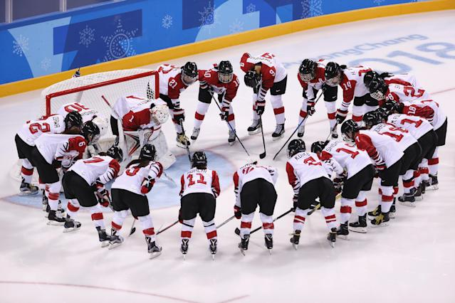 <p>Team Japan huddle before their game against Team Switzerland during the Women's Ice Hockey Preliminary Round – Group B game on day three of the PyeongChang 2018 Winter Olympic Games at Kwandong Hockey Centre on February 12, 2018 in Gangneung, South Korea. (Photo by Jamie Squire/Getty Images) </p>