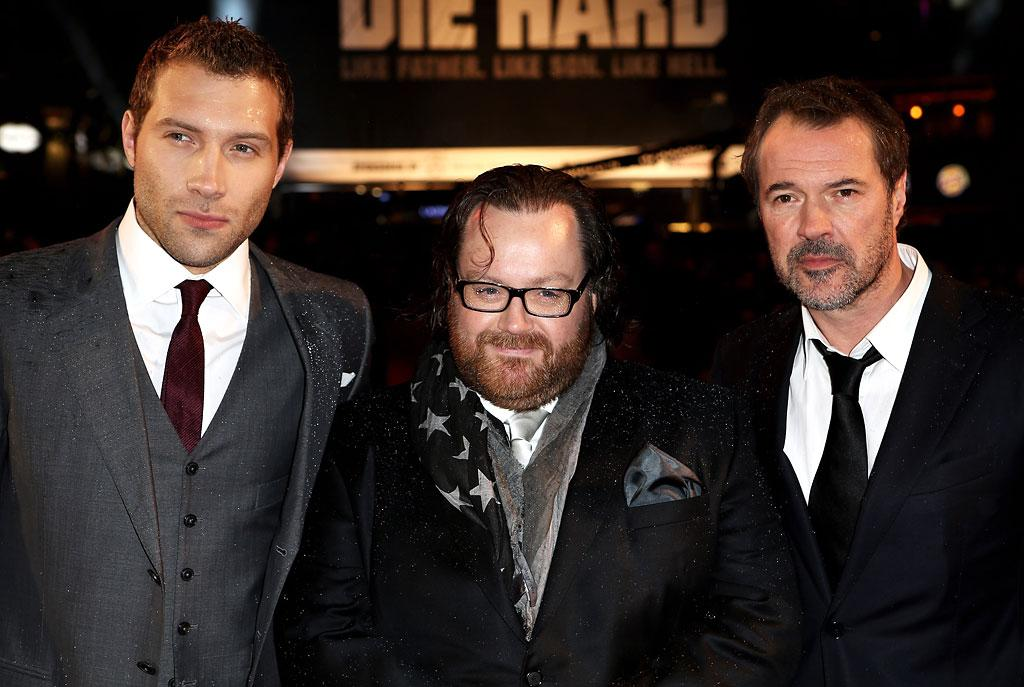 Jai Courtney, director John Moore and actor Sebastian Koch attend the UK Premiere of 'A Good Day To Die Hard' at Empire Leicester Square on February 7, 2013 in London, England.  (Photo by Dave M. Benett/WireImage)