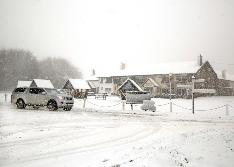 Heavy snow makes roads on Exmoor impassable on Thursday. (SWNS)