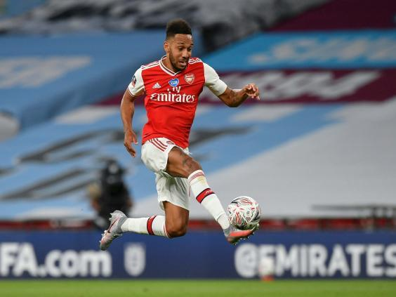 Pierre-Emerick Aubameyang inspired Arsenal in victory over Manchester City but faces an uncertain future (EPA)