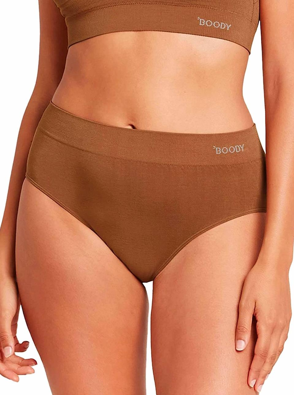 """Lighter and airier than cotton, Boody's full coverage undies are a must-have for warm-weather dressing. This pair of underwear is made from a lightweight, sustainably sourced bamboo fiber that's especially welcome on sticky-hot summer days. $14, Amazon. <a href=""""https://www.amazon.com/Boody-EcoWear-Seamless-Underwear-Natural/dp/B07NJ94JSG/ref="""" rel=""""nofollow noopener"""" target=""""_blank"""" data-ylk=""""slk:Get it now!"""" class=""""link rapid-noclick-resp"""">Get it now!</a>"""