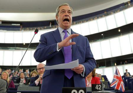 Nigel Farage, United Kingdom Independence Party (UKIP) member and MEP, addresses the European Parliament during a debate on Brexit priorities and the upcomming talks on the UK's withdrawal from the EU, in Strasbourg, France, April 5, 2017.  REUTERS/Vincent Kessler
