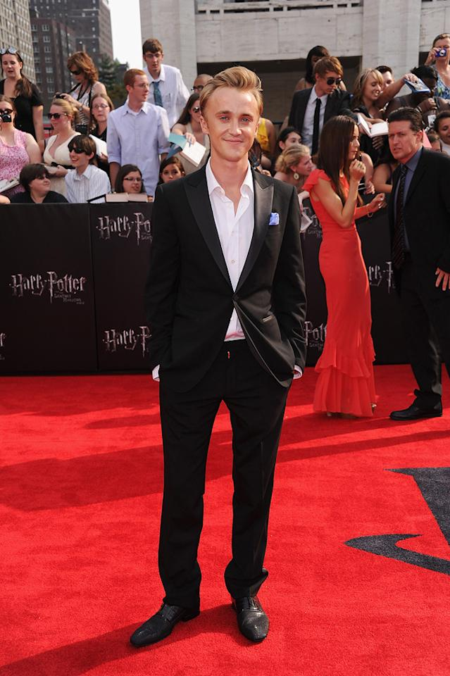"""<a href=""""http://movies.yahoo.com/movie/contributor/1800308596"""">Tom Felton</a> at the New York City premiere of <a href=""""http://movies.yahoo.com/movie/1810004624/info"""">Harry Potter and the Deathly Hallows - Part 2</a> on July 11, 2011."""