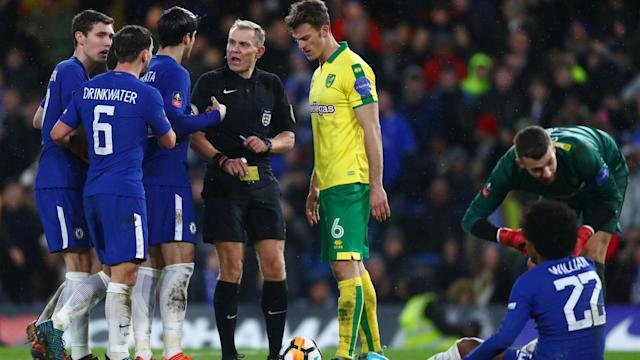 The Blues boss was unhappy at how the VAR wasn't used as Willian was harshly booked for diving after contact was made with the Norwich defender