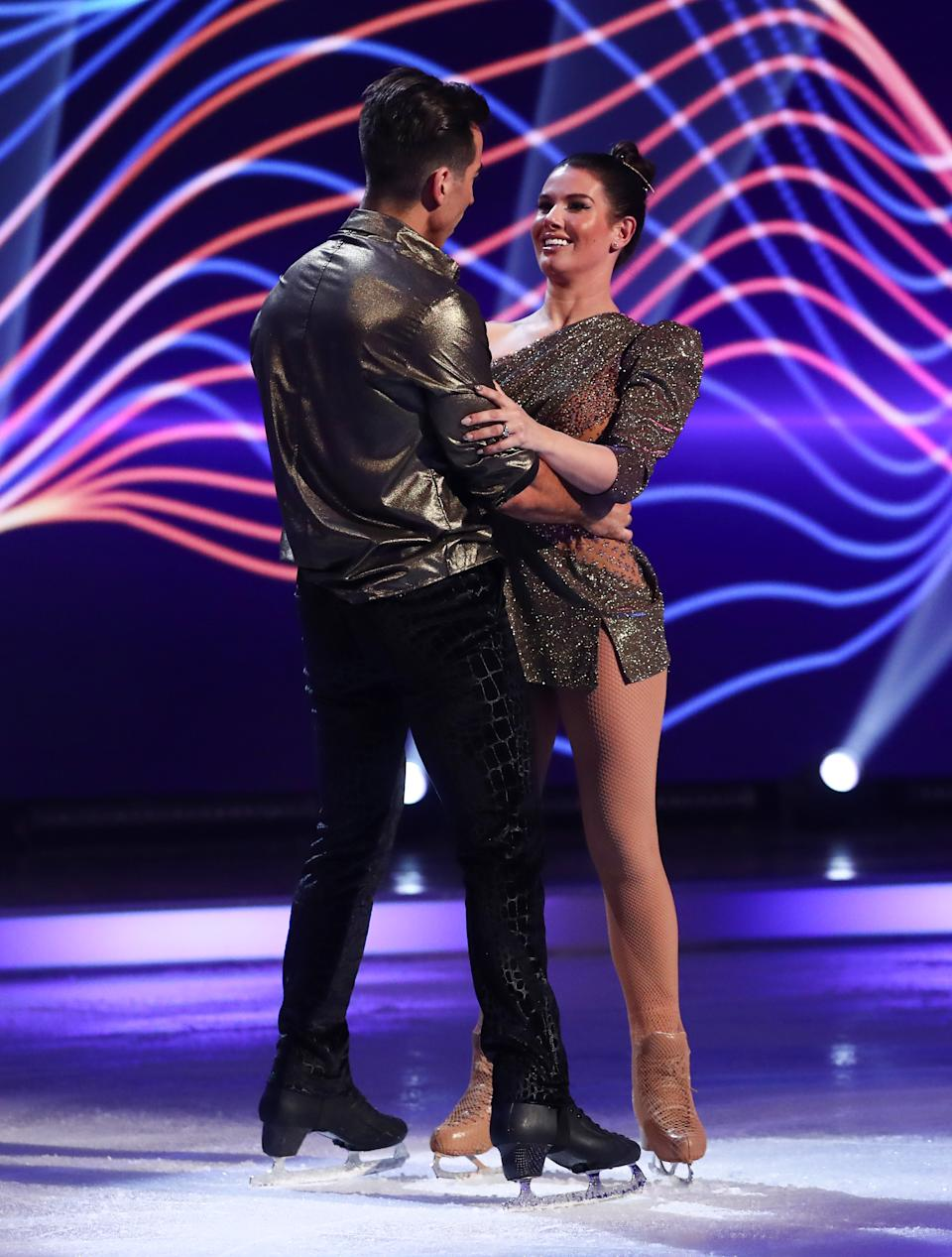 Editorial use only Mandatory Credit: Photo by Matt Frost/ITV/Shutterstock (11777383ht) Rebekah Vardy and Andy Buchanan during the skate-off 'Dancing On Ice' TV show, Series 13, Episode 6, Hertfordshire, UK - 28 Feb 2021