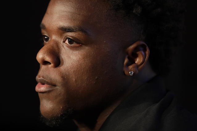 Oregon State running back Jermar Jefferson answers questions during the Pac-12 Conference NCAA college football Media Day Wednesday, July 24, 2019, in Los Angeles. (AP Photo/Marcio Jose Sanchez)