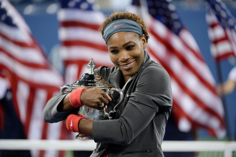 Serena Williams celebrates her win over Victoria Azarenka at the US Open in New York on September 8, 2013