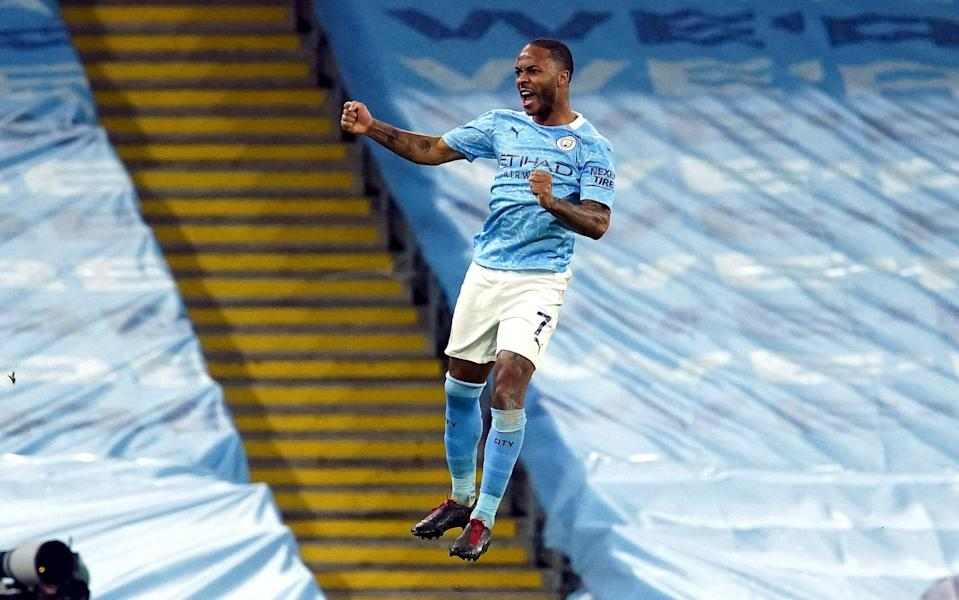 Raheem Sterling of Manchester City celebrates after scoring the 4-0 lead during the English Premier League soccer match between Manchester City and Crystal Palace in Manchester, Britain, 17 January 2021. Manchester City vs Crystal Palace, United Kingdom. - Dave Thompson/POOL/EPA-EFE/Shutterstock