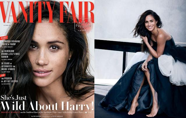 "<p>Outrage ensued when Markle appeared on the cover of <i>Vanity Fair</i>, opening up about her relationship publicly for the very first time. ""We're a couple. We're in love. I'm sure there will be a time when we will have to come forward and present ourselves and have stories to tell, but I hope what people will understand is that this is our time. This is for us,"" she told the magazine. (Photo: Vanity Fair) </p>"
