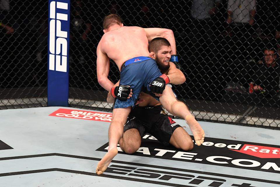 Khabib's wrestling proved unstoppable in the Octagon throughout his UFC careerZuffa LLC via Getty Images