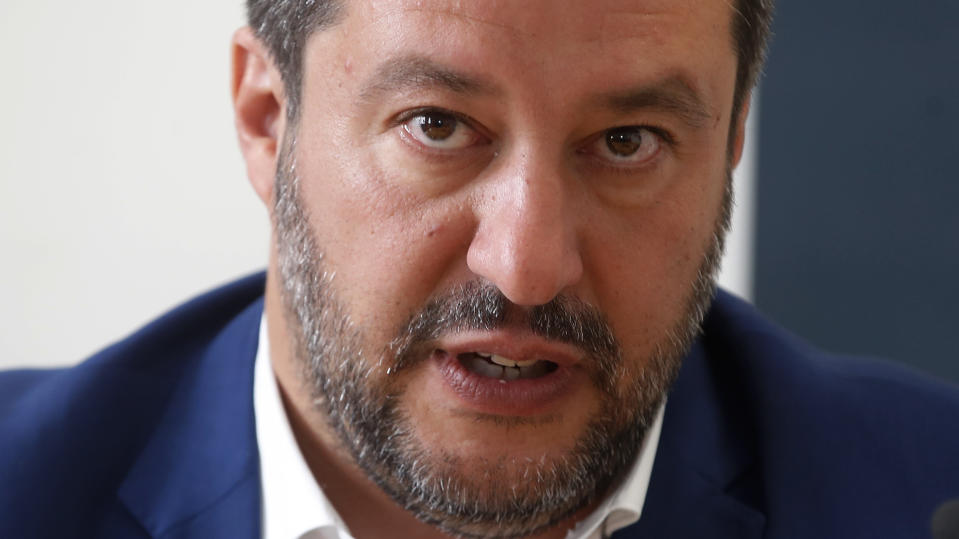 Italian Interior Minister Matteo Salvini attends at the press conference at Stampa Estera (Foreign Press) in Milan, Italy, Friday, May 17, 2019. (AP Photo/Antonio Calanni)