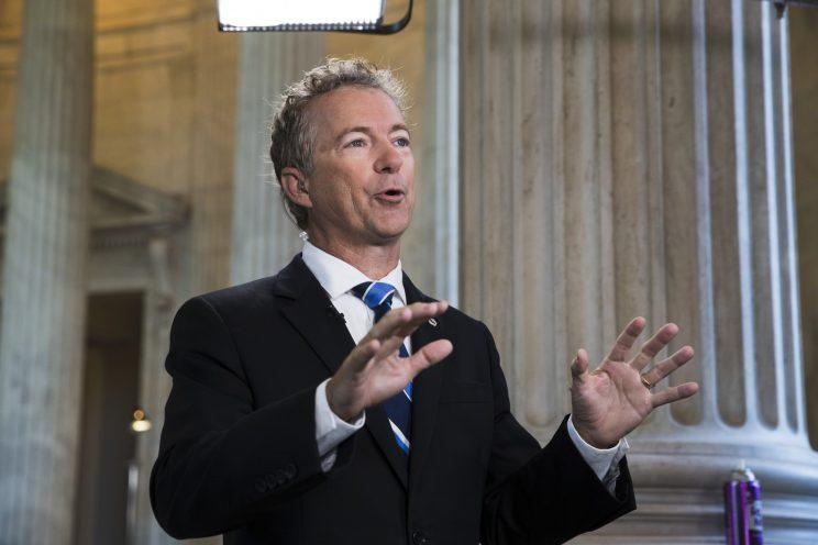 Sen. Rand Paul, R-Ky., a key opponent of the Republican health care bill, does a television news interview on Capitol Hill in Washington, Wednesday, June 28, 2017, the day after Senate Majority Leader Mitch McConnell of Ky. was forced to delay a vote due to rebellion in his own party, (Photo: J. Scott Applewhite/AP)