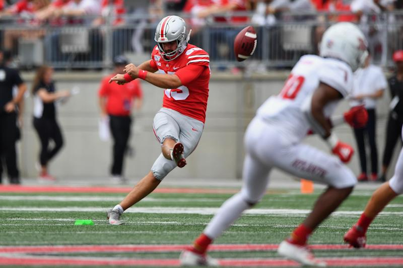 COLUMBUS, OH - AUGUST 31: Blake Haubeil #95 of the Ohio State Buckeyes kicks off against the Florida Atlantic Owls at Ohio Stadium on August 31, 2019 in Columbus, Ohio. (Photo by Jamie Sabau/Getty Images)