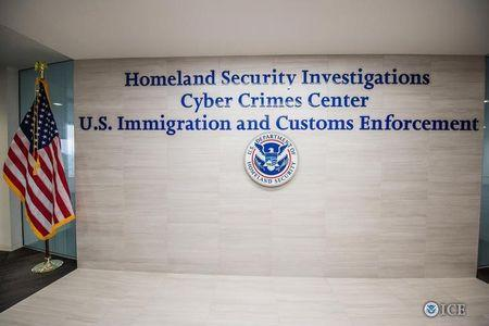 The entrance to the Immigration and Customs Enforcement (ICE) at U.S. Department of Homeland Security in Fairfax