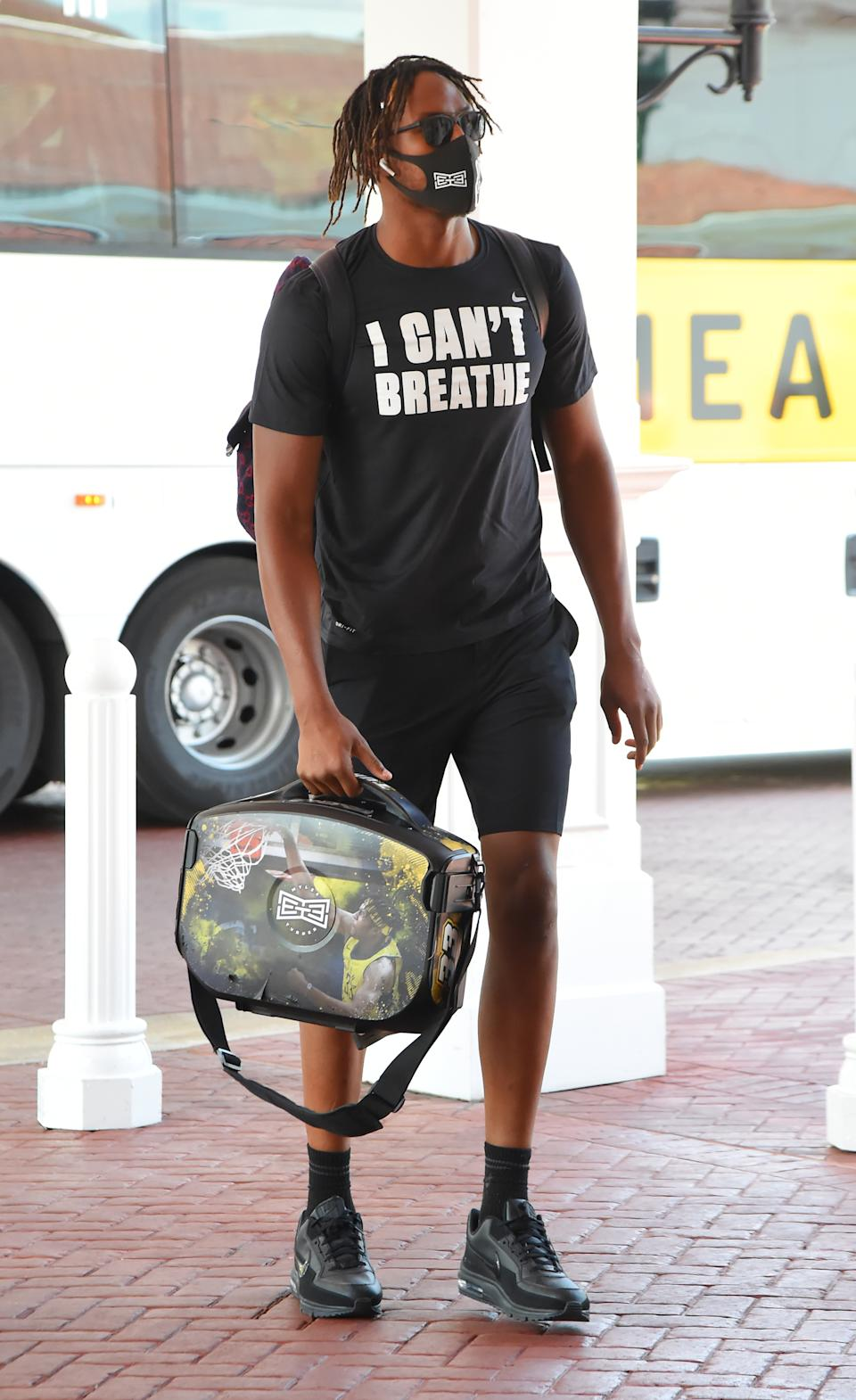 Myles Turner of the Indiana Pacers arrives at the hotel as part of the NBA Restart 2020 on July 9, 2020 in Orlando, Florida. (Photo by Bill Baptist/NBAE via Getty Images)
