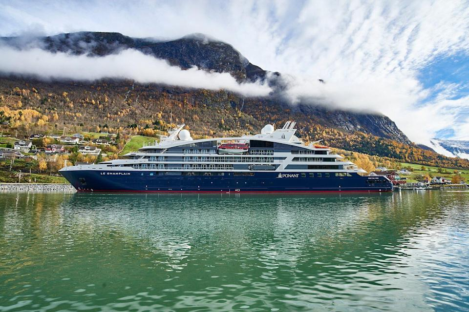 Le Champlain ship by ponant in Norway