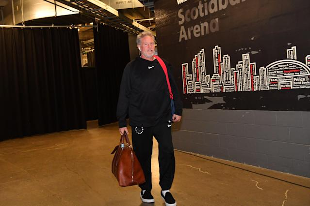 76ers head coach Brett Brown was ready for business in Game 2 in Toronto. (Getty Images)