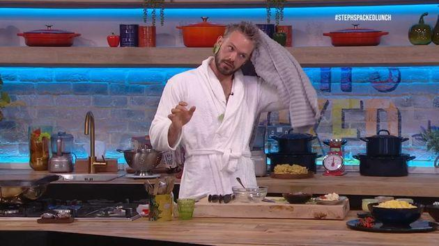 John had to do his cookery section while still drying off (Photo: Channel 4)