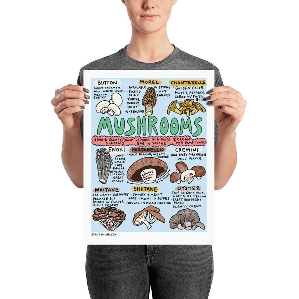 """<h2>Stacy Michelson Mushroom Print<br></h2><br>This hand-drawn illustration is both groovy <em>and</em> informative (also two words you'd use to describe your mom). If 'shrooms aren't your mother's speed, illustrator Stacy Michelson has a host of original prints that make cheerful infographics out of culinary staples like <a href=""""https://www.etsy.com/listing/662858755/salt-print-cook-better-with-this-salt?ref=shop_home_feat_3"""" rel=""""nofollow noopener"""" target=""""_blank"""" data-ylk=""""slk:salt"""" class=""""link rapid-noclick-resp"""">salt</a>, <a href=""""https://www.etsy.com/listing/662892659/mole-print-kitchen-art-food-illustration?ref=shop_home_active_37"""" rel=""""nofollow noopener"""" target=""""_blank"""" data-ylk=""""slk:mole"""" class=""""link rapid-noclick-resp"""">mole</a>, and <a href=""""https://www.etsy.com/listing/679594781/sriracha-print-hot-sauce-lovers-you-need?ref=shop_home_active_2"""" rel=""""nofollow noopener"""" target=""""_blank"""" data-ylk=""""slk:Sriracha"""" class=""""link rapid-noclick-resp"""">Sriracha</a>.<br><br><em>Shop <strong><a href=""""https://www.etsy.com/shop/stacymichelson"""" rel=""""nofollow noopener"""" target=""""_blank"""" data-ylk=""""slk:Stacy Michelson"""" class=""""link rapid-noclick-resp"""">Stacy Michelson</a></strong> on Etsy</em><br><br><strong>Stacy Michelson</strong> Mushrooms Art Print, $, available at <a href=""""https://go.skimresources.com/?id=30283X879131&url=https%3A%2F%2Fwww.etsy.com%2Flisting%2F662897643%2Fmushrooms-print-kitchen-art-pretty-food"""" rel=""""nofollow noopener"""" target=""""_blank"""" data-ylk=""""slk:Etsy"""" class=""""link rapid-noclick-resp"""">Etsy</a>"""