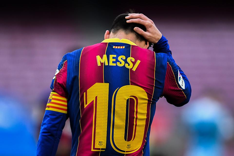 BARCELONA, SPAIN - MAY 16: Lionel Messi of FC Barcelona shows his dejection during the La Liga Santander match between FC Barcelona and RC Celta at Camp Nou on May 16, 2021 in Barcelona, Spain. Sporting stadiums around Spain remain under strict restrictions due to the Coronavirus Pandemic as Government social distancing laws prohibit fans inside venues resulting in games being played behind closed doors. (Photo by David Ramos/Getty Images)