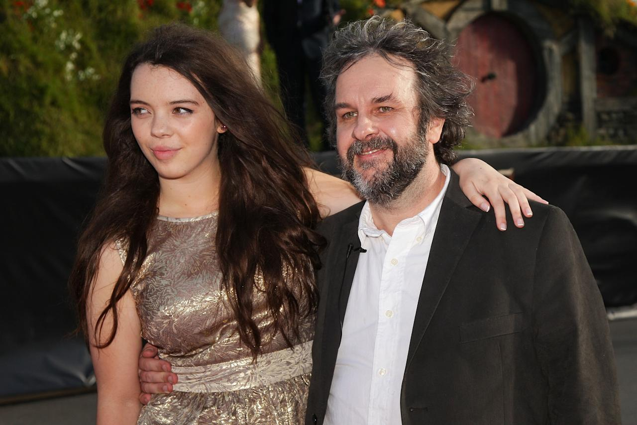 "WELLINGTON, NEW ZEALAND - NOVEMBER 28:  Director Sir Peter Jackson and  daughter Katie arrive at the ""The Hobbit: An Unexpected Journey"" World Premiere at Embassy Theatre on November 28, 2012 in Wellington, New Zealand.  (Photo by Hagen Hopkins/Getty Images)"