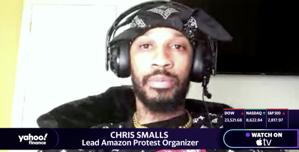 """Former Amazon warehouse worker Chris Smalls, whom the company fired on March 30 the same day he participated in a strike, appears on Yahoo Finance's """"On The Move."""""""