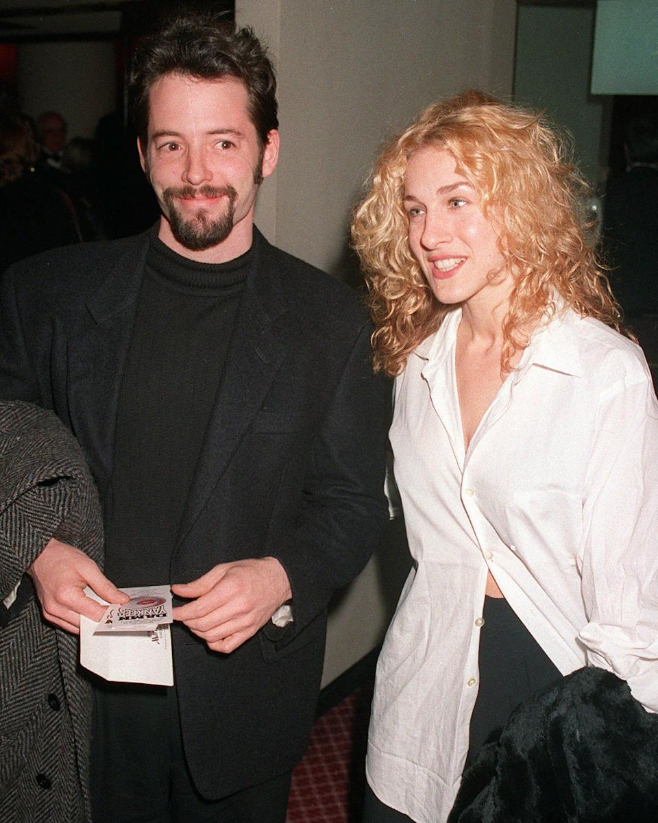 FILE--Actors Matthew Broderick and Sarah Jessica Parker, shown in this March 3, 1994 file photo, were married in Manhattan Monday, May 19, 1997, according to a Los Angeles public relations firm.  Broderick, who is starring in a remake of ``Godzilla'' being filmed in New York City, had recently scoffed at rumors that he was planning to wed. (AP Photo/Malcolm Clarke, File)