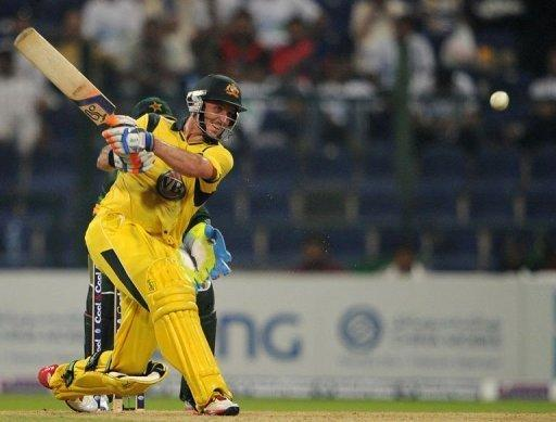 Australian batsman Michael Hussey plays a shot during the second One Day International cricket match between Pakistan and Australia at the Abu Dhabi cricket stadium. Pakistan held a seven-wicket win over Australia in the second one-day, levelling the three-match series at 1-1 on Friday