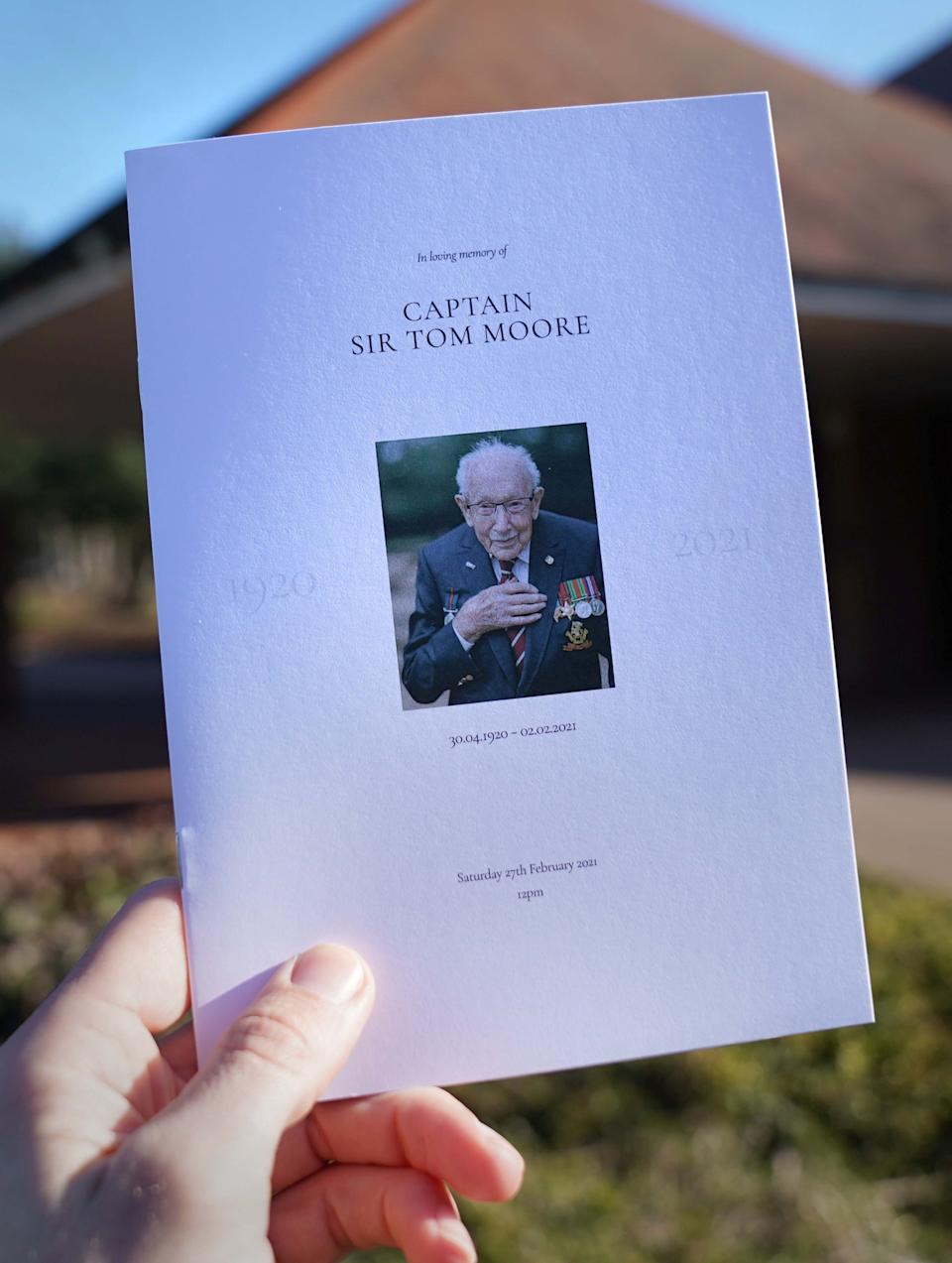 The Order of Service for the funeral of Captain Sir Tom Moore is seen at Bedford Crematorium. (Photo: PA Images / Joe Giddens)