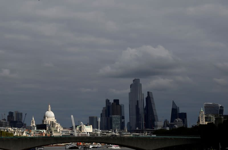 FILE PHOTO: St Paul's Cathedral is seen together with skyscrapers in the City of London financial district