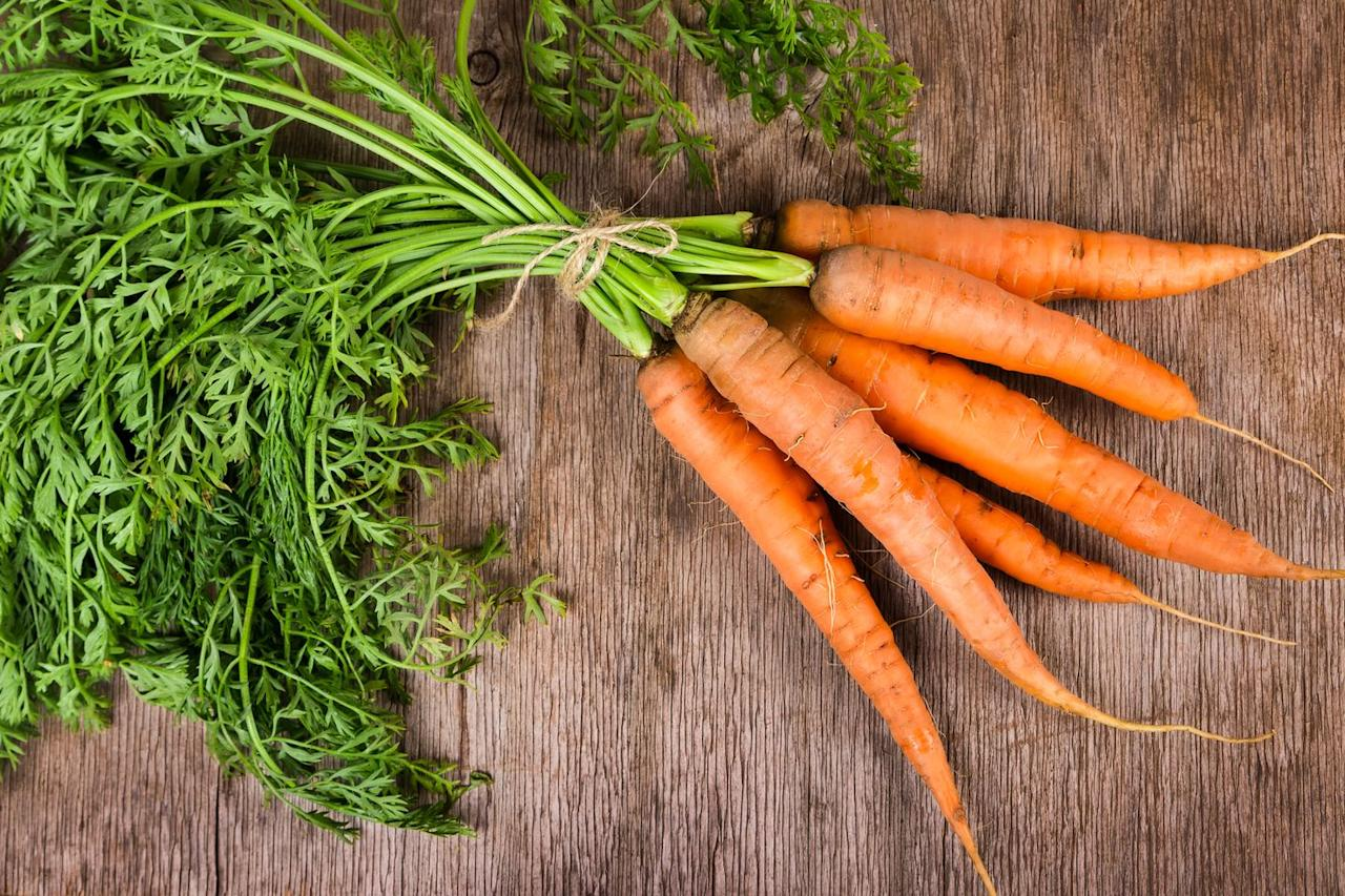 "<p>Perfect for soups, stews, and snacking, carrots add plenty of sweetness in a low-sugar bite. A serving is also packed with twice your recommended daily intake of <a href=""https://www.womenshealthmag.com/food/g19961434/vitamins-and-nutrients-for-women/"" target=""_blank"">vitamin A</a>, which benefits vision, reproduction, and immune function.</p><p><a class=""body-btn-link"" href=""https://www.delish.com/cooking/recipe-ideas/recipes/a58381/honey-glazed-carrots-recipe/"" target=""_blank"">Try it: Honey-glazed carrots</a></p><p><em>Per </em><a href=""https://ndb.nal.usda.gov/ndb/foods/show/11124""><em>1 medium</em></a><em></em><em> carrot: 25 cal, 0.2 g fat (0 g sat), 6 g carbs, 3 g sugar, 42 mg sodium, 2 g fiber, 0.6 g protein</em></p>"