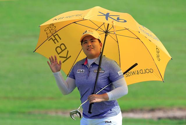 ROGERS, AR - JUNE 23: Inbee Park of South Korea acknowledges the crowd on the 17th hole during the final round of the Walmart NW Arkansas Championship Presented by P&G at the Pinnacle Country Club on June 23, 2013 in Rogers, Arkansas. (Photo by Sam Greenwood/Getty Images)