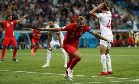 Soccer Football - World Cup - Group G - Tunisia vs England - Volgograd Arena, Volgograd, Russia - June 18, 2018 England's Harry Kane celebrates scoring their second goal REUTERS/Sergio Perez
